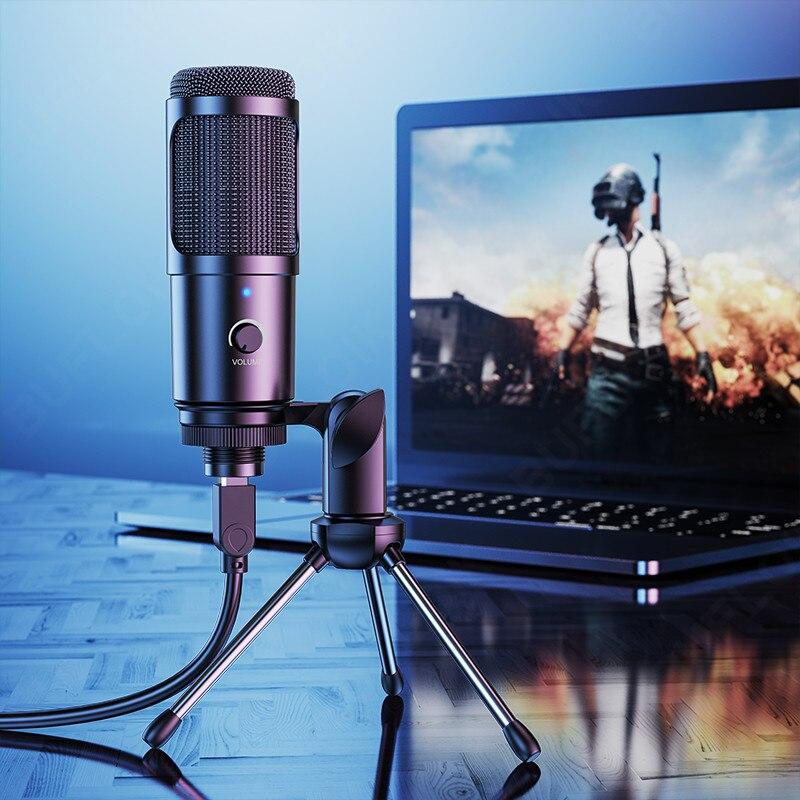 Металлический конденсаторный USB-микрофон для записи, игровой микрофон для ноутбука на Windows, Кардиоидная студийная запись вокала, голосовой ...