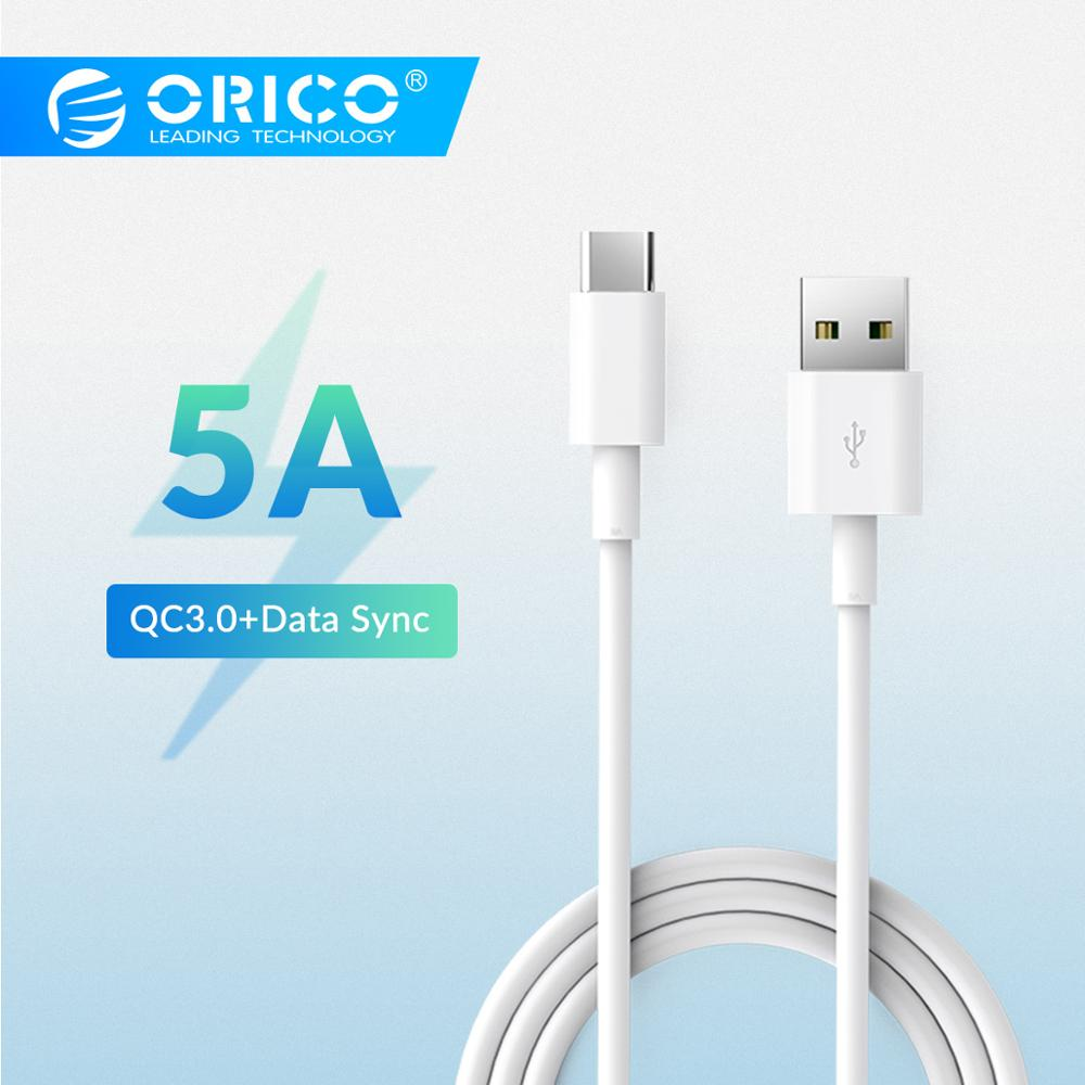 ORICO 5A USB Type C-kabel hurtigladningskabel for Huawei P30 Mate 20 Pro Xiaomi Mi 9 HTC for Macbook LG G5 Mobiltelefon lader