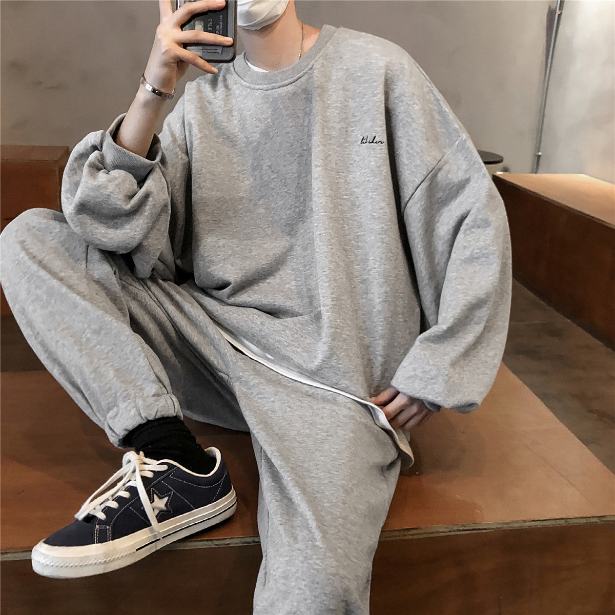 2020 (hoodies+pants) Men's Solid Color Round Neck Coats Motion Tracksuit Clothing Sportswear Tracksuits Grey/black Leisure Sets