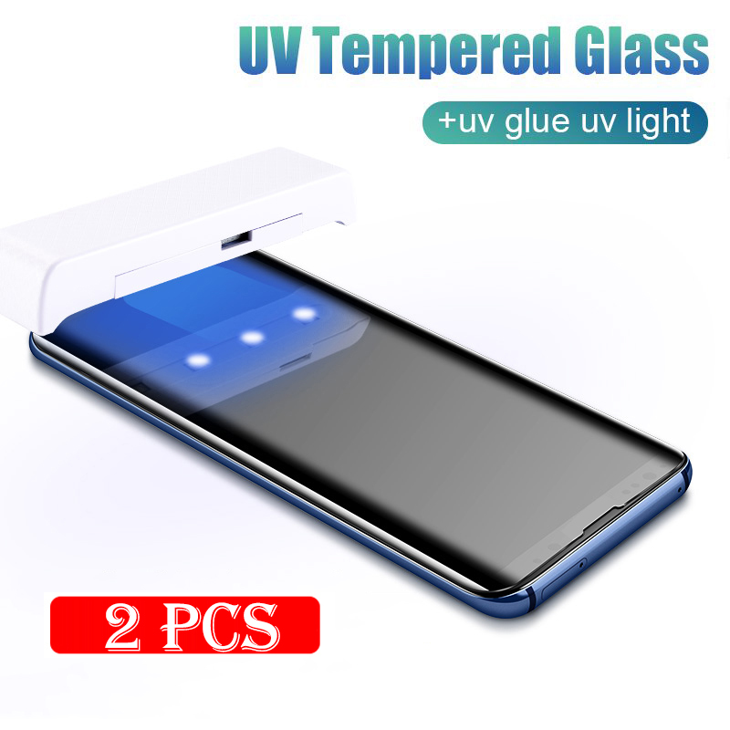100D UV Tempered Glass For Samsung Galaxy S9 S8 S10 Plus Note 10 9 8 Full Liquid Screen Protector Film For Samsung S8 S9 S7 Edge