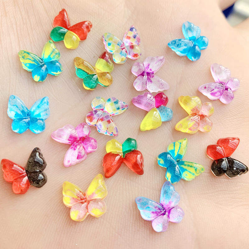 Colour as in photos. 25pcs X 10mm Flat Back Acrylic Butterflies