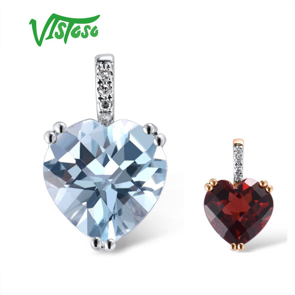 VISTOSO Gold Pendant For Women Genuine 14K 585 White Gold Radiant Sky Blue Topaz Sparkling Diamond Pendant Delicate Fine Jewelry