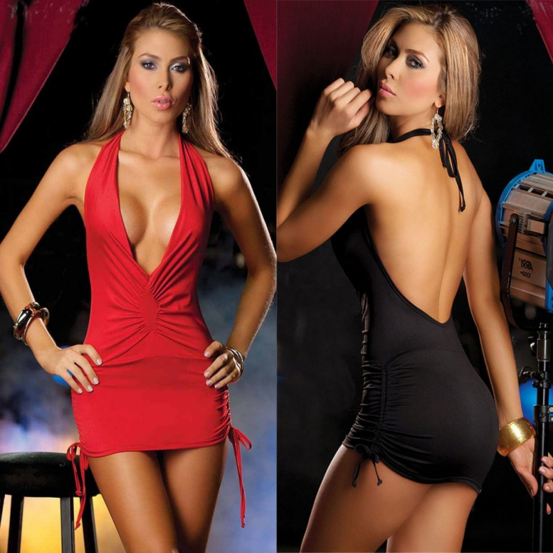 Women's Erotic Underwear Backless Lenceria Sexy Costumes Pole Dance Exotic Dress Halter Baby Doll Sexy Lingerie Hot Sex Clothes
