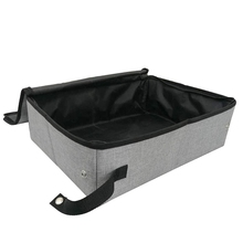Collapsible Portable Cat Litter Box Gray for Travel Light Weight Foldable