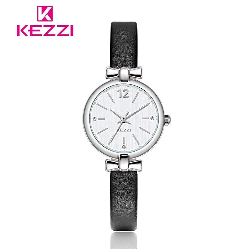 Kezzi брендовые модные трендовые женские кожаные кварцевые часы, женские простые студенческие часы с маленьким циферблатом и бантом для