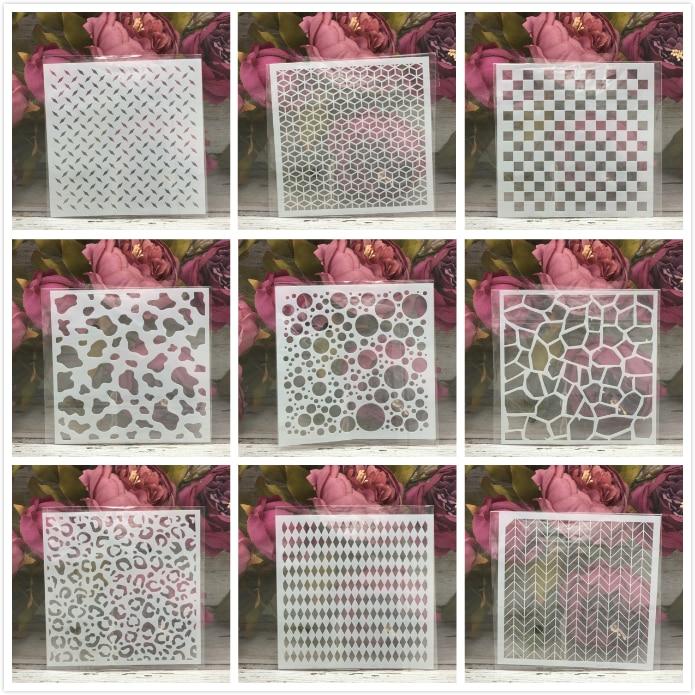 "9Pcs/Set 5"" Geometry Types DIY Layering Stencils Painting Scrapbook Coloring Embossing Album Decorative Card Template"
