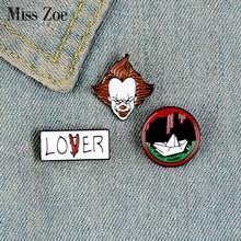 El Joker esmalte Pin personalizado LOVER LOSER broches de bote camisa solapa bolsa insignia redonda película de terror joyería regalo para amigos