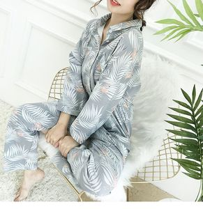 Image 5 - Womens Pajamas Sets Autumn Cotton Flamingo Lapel Top + Long Pant 2 Piece Sets Pajamas Set For Women Sleepwear Girls Pyjamas Suit