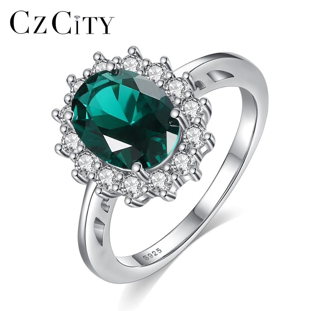 CZCITY New Princess Diana William Kate Emerald Ruby Sapphire Wedding Engagement Rings For Women 925 Sterling Silver Fine Jewelry