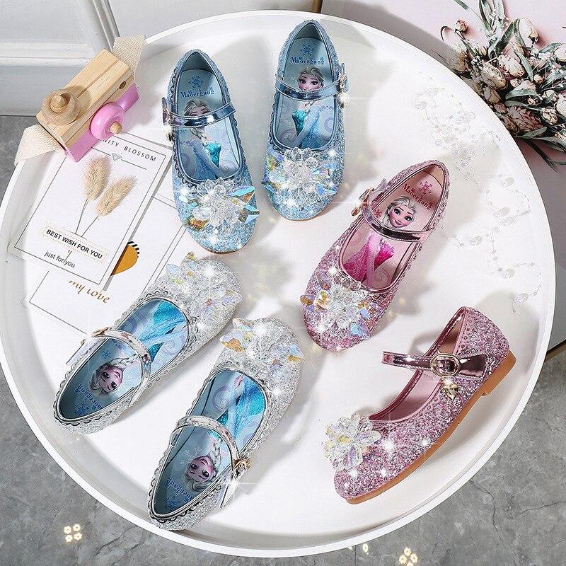 Disney Girl Princess Shoes Kids Shoes Soft Bottom Shoes Crystal Shoes Children Shoes
