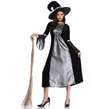 Women Sexy Witch Suit Halloween Cosplay Gothic Dress Masquerade Carnival Costumes Festival Party Dress+Witch Hat цена