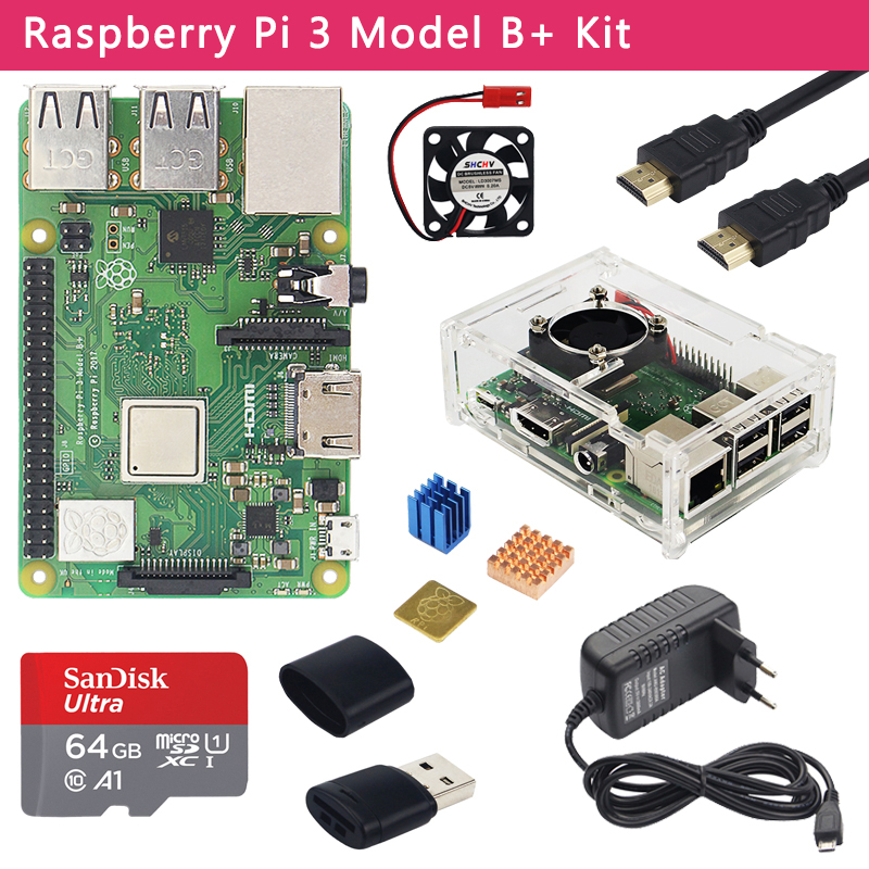 Original Raspberry Pi 3 Model B  Kit    Case   3A Power Adapter   32 64GB SD Card   HDMI Cable   Heatsink for Raspberry Pi 3B