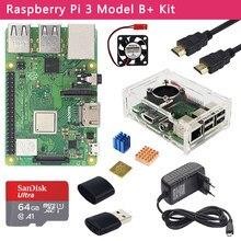 Original raspberry pi 3 modelo b + kit + caso 3a adaptador de alimentação 32 64gb cartão sd cabo hdmi dissipador de calor para raspberry pi 3b +