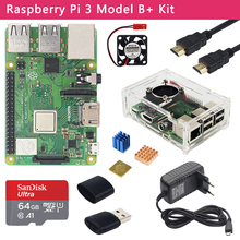 Original Raspberry Pi 3 Modell B + Kit + Fall + 3A Power Adapter + 32 64GB SD Karte + HDMI Kabel + Kühlkörper für Raspberry Pi 3B +