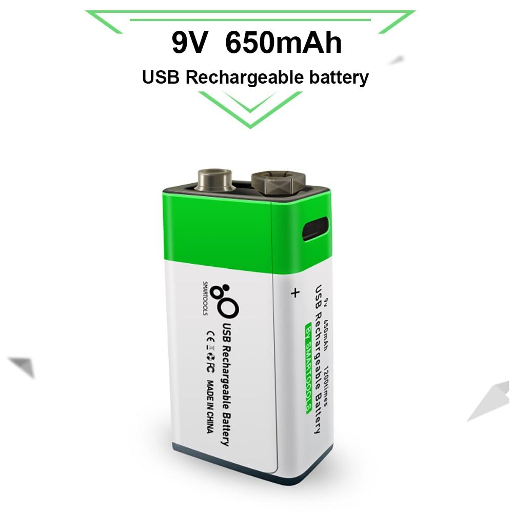 9 v 650mah bateria de lítio recarregável usb carregamento 9 v li-ion bateria quadrada para o brinquedo de controle remoto ktv multímetro microfone