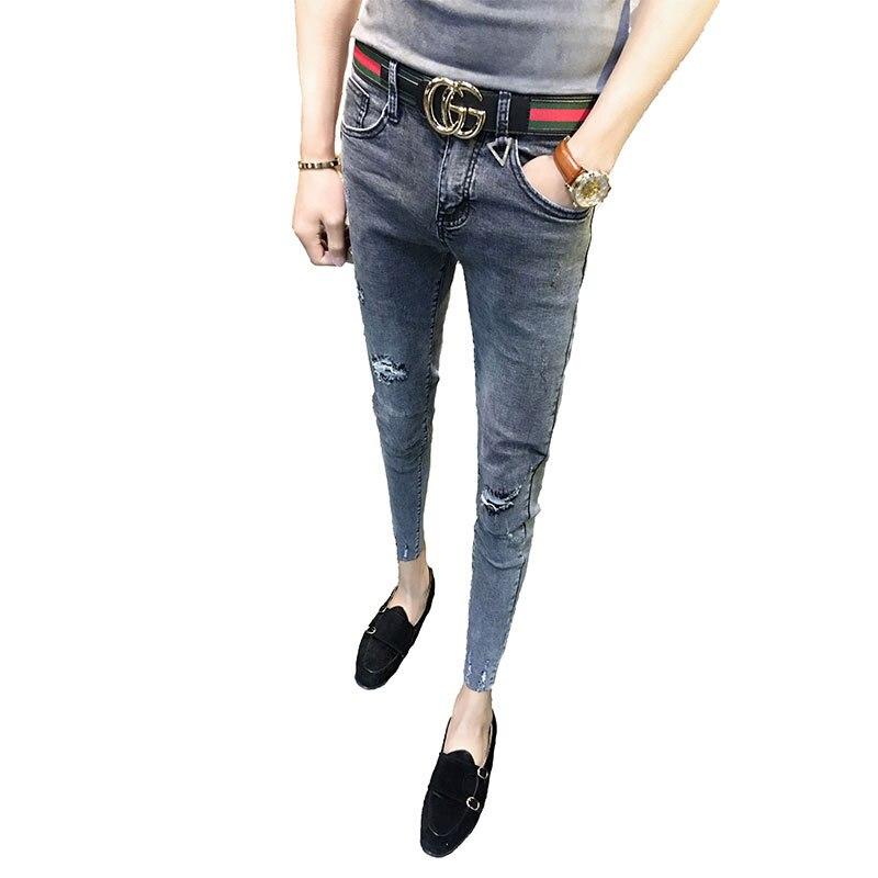 Мода 2019, весна-осень, тянущиеся облегающие обтягивающие серые рваные брюки до щиколотки, ковбойские узкие джинсы для мужчин