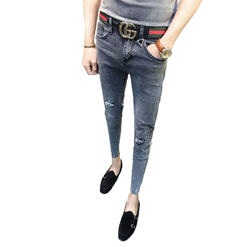 Fashion 2019 Spring Autumn Stretch Feet Tight-fitting Skinny Ripped Hole Grey Social Ankle Length Pants Cowboy Pencil Jeans Men