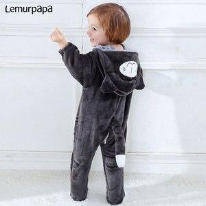Image 5 - Baby Romper Charmmy kostium kota chłopiec dziewczyna Kawaii Onesie zamek z kapturem kreskówka zwierzęta noworodka maluch ubrania ciepłe miękkie