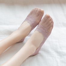 Mesh Socks Slippers Short Lace Thin Transparent No-Show Summer Women Spring