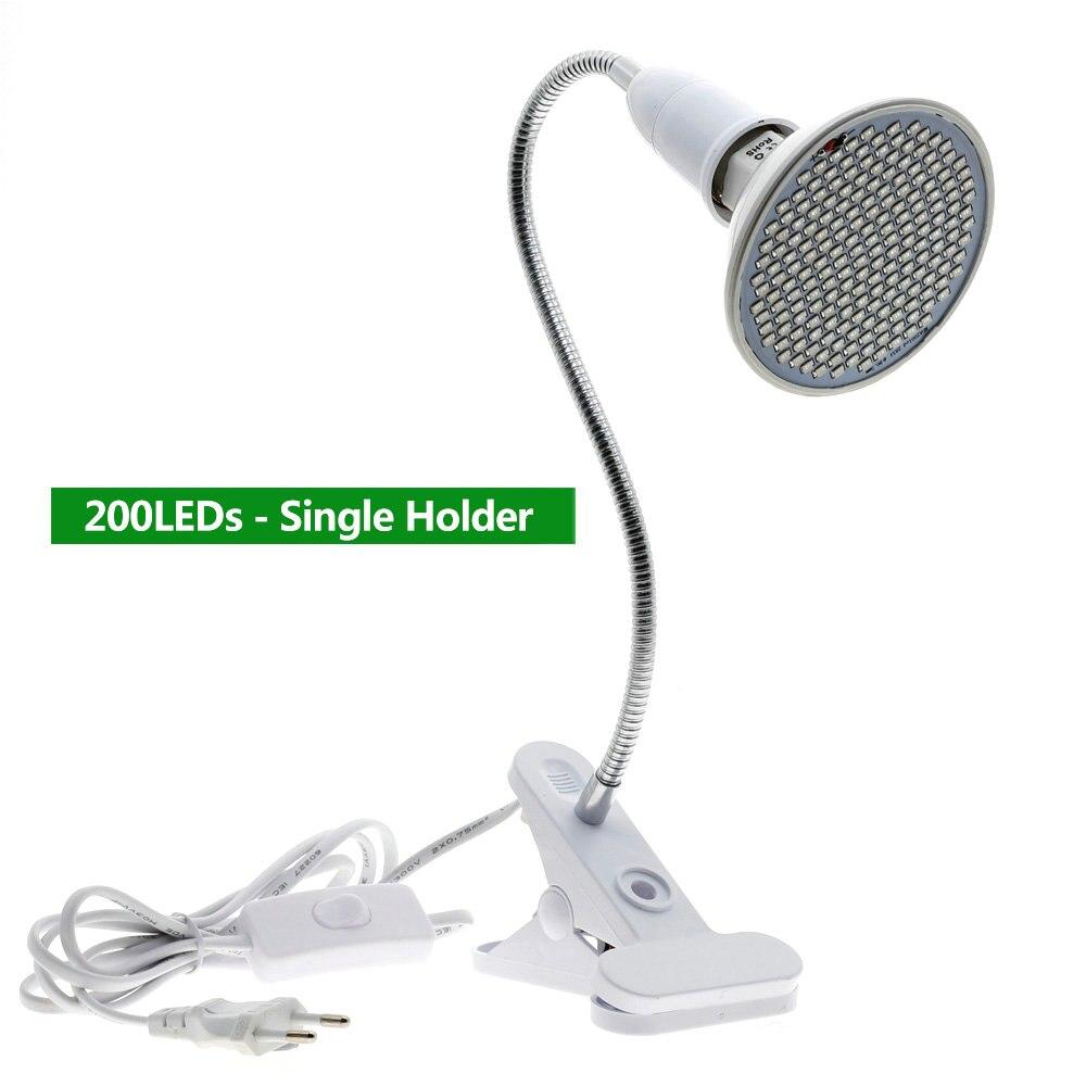220V Phytolamp E27 полный спектр светодиодный Grow светильник гибкий металлический шланг зажим-по выращиванию светильник s Крытый Фито лампы для растений, цветы - Испускаемый цвет: 200 LEDs Single