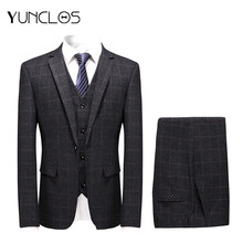 YUNCLOS 2019 Dark Gray Plaid Business Men Suit Flat Collar Banquet Tuxedo 3 Pcs Suits Costume Homme Gris Wedding Suits For Men(China)