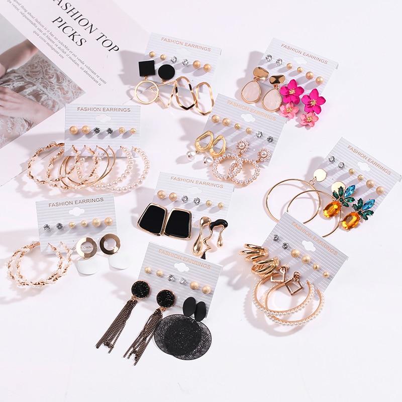 Women's Earrings Set Tassel Pearl Earrings For Women Bohemian Fashion Jewelry 2020 Geometric kolczyki Hoop Earings