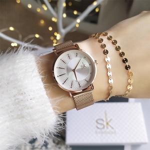 Image 2 - Shengke חדש Creative נשים שעונים יוקרה Rosegold קוורץ גבירותיי שעונים Relogio Feminino רשת להקת שעוני יד Reloj Mujer