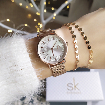 Shengke New Creative Women Watches Luxury Rosegold Quartz Ladies Relogio Feminino Mesh Band Wristwatches Reloj Mujer - discount item  60% OFF Women's Watches