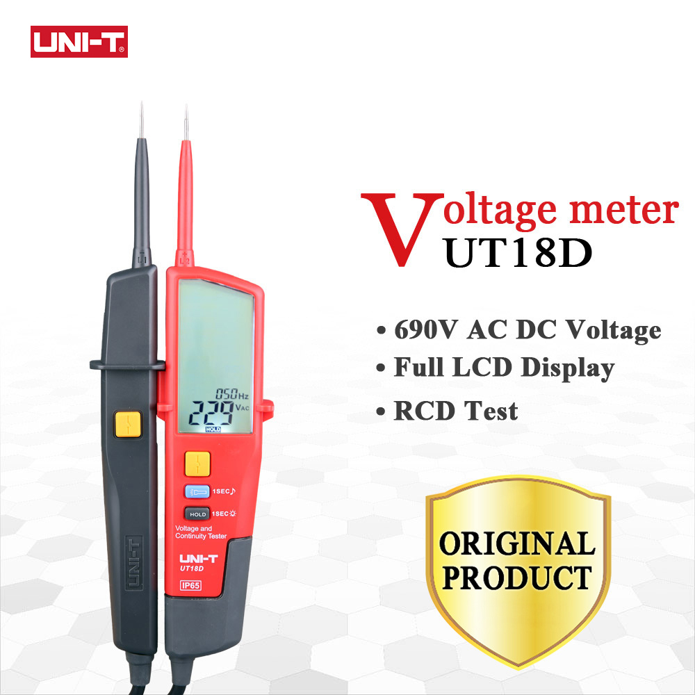UNI-T UT18D Digital Voltmeter AC DC Voltage Continunity Tester 690V LCD Display 3 Phase Sequence RCD Electrical Testing Tool