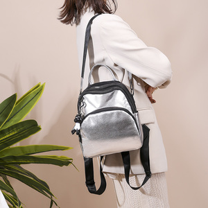 Image 3 - Women Mini Silver Backpack School Bags PU Leather Bag Female Silver Backpacks Teenage Girls Shoulder Bags Rivets Mochila XA462H