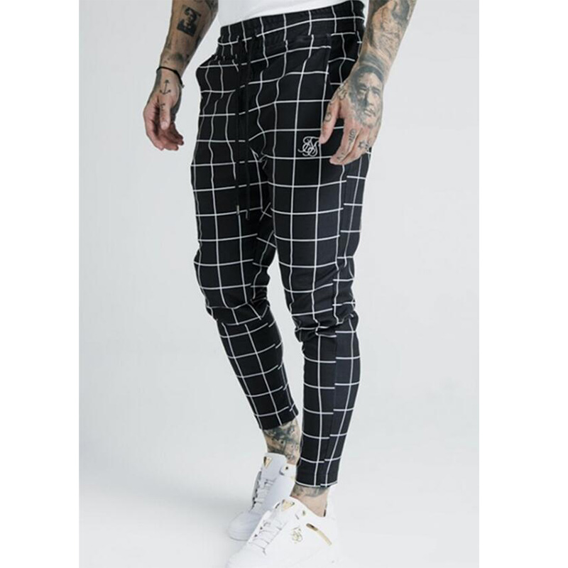 2020 Men's Fashion New Plaid Sik Silk Printing Casual Sweatpants Men's Street Hip Hop Fashion Slim Pants Polyester