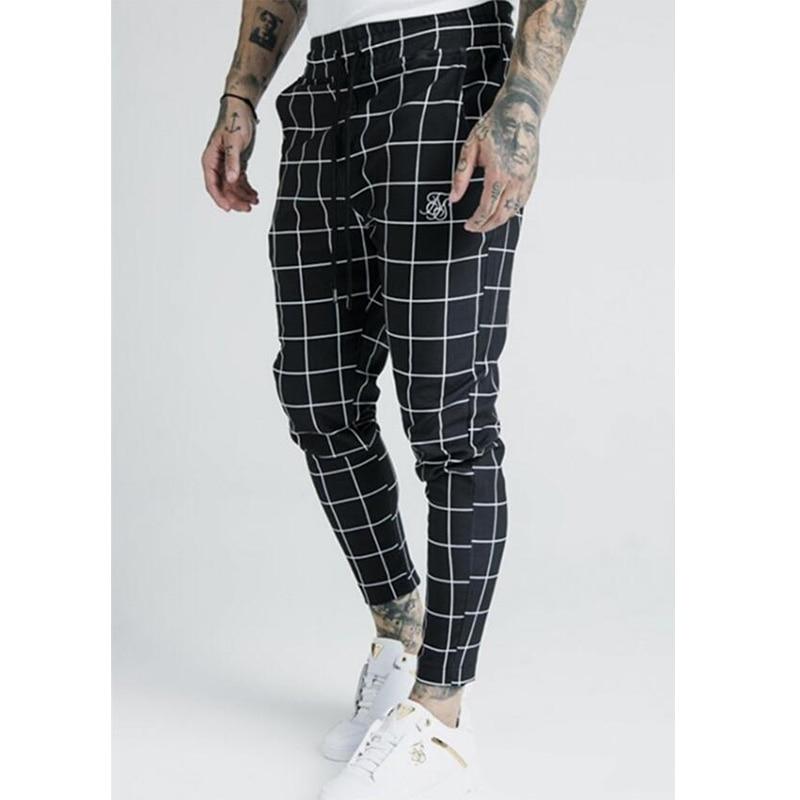 2020 Men's Fashion New Plaid Sik Silk Printing Casual Sweatpants Men's Street Hip Hop Fashion Slim Pants Polyester