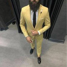 Men Suit Yellow Groom Tuxedo Wedding Suit For Men 2020 Slim Fit Suit Dinner Casual Party Suits Male Blazer Jacket&Pant(China)