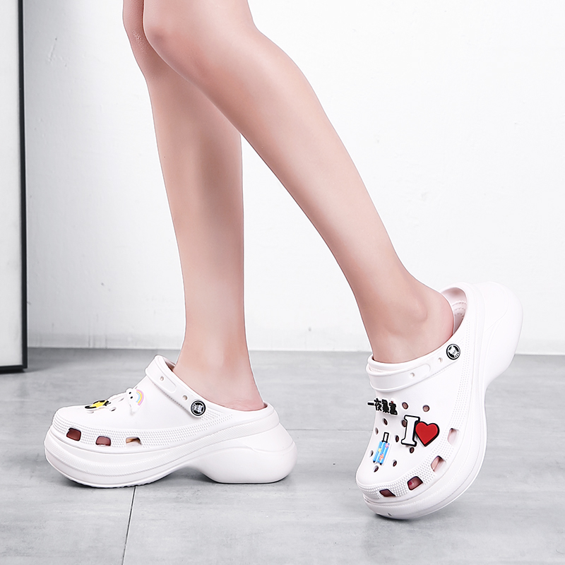 8cm High Heel Women Black Pink Yellow Shoes Woman Cute Carton Embellishment  Sandals Round Toe Cut Out Platform Wedge Shoes
