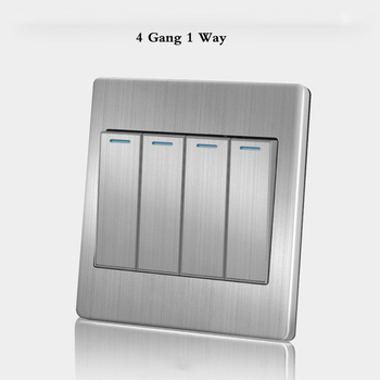 86 Type wall switch panel Five hole socket with switch Brushed Stainless steel 5-hole socket Household 1 2 3 4Gang 1 2Way switch 17