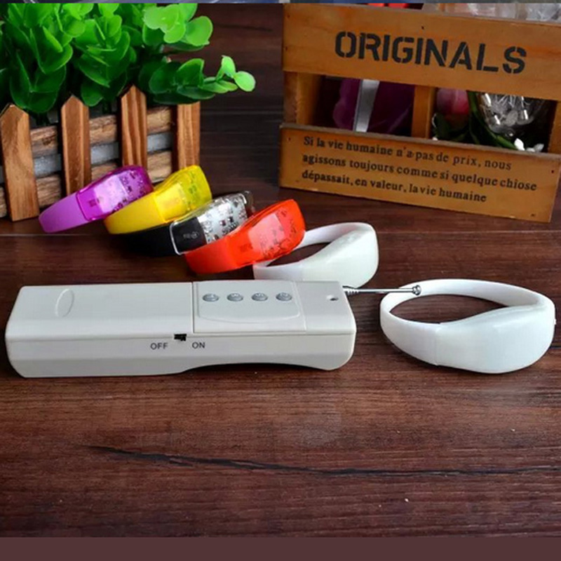 LED Color Changing Silicone White Case Bracelets with 4 keys remote control for Party Event free shipping 100pcs Lot in Glow Party Supplies from Home Garden