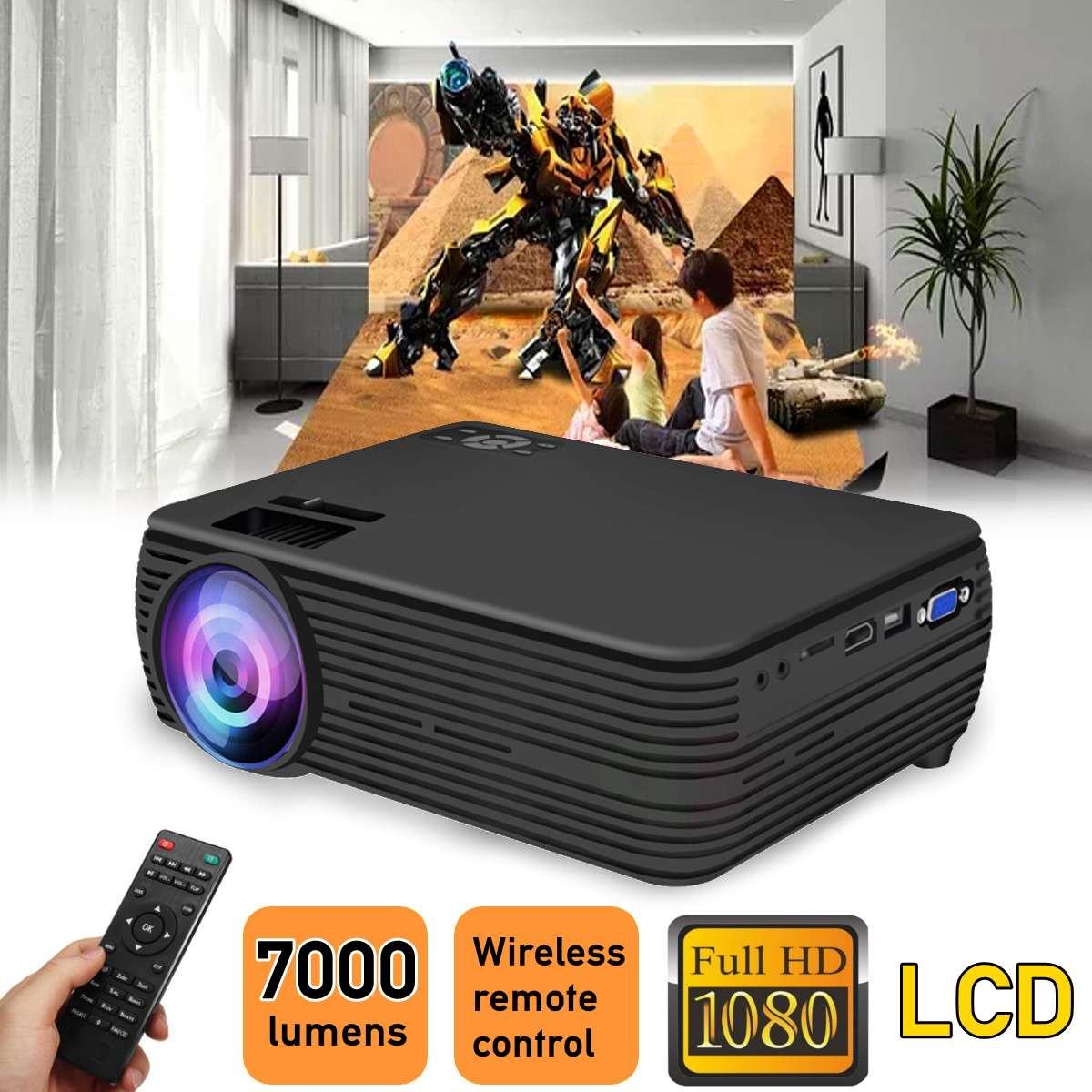 LCD Projector Support 1080p HD Multimedia Home Cinema Smart Home Theater LED Projector HDMI-compatible VGA AV SD USB
