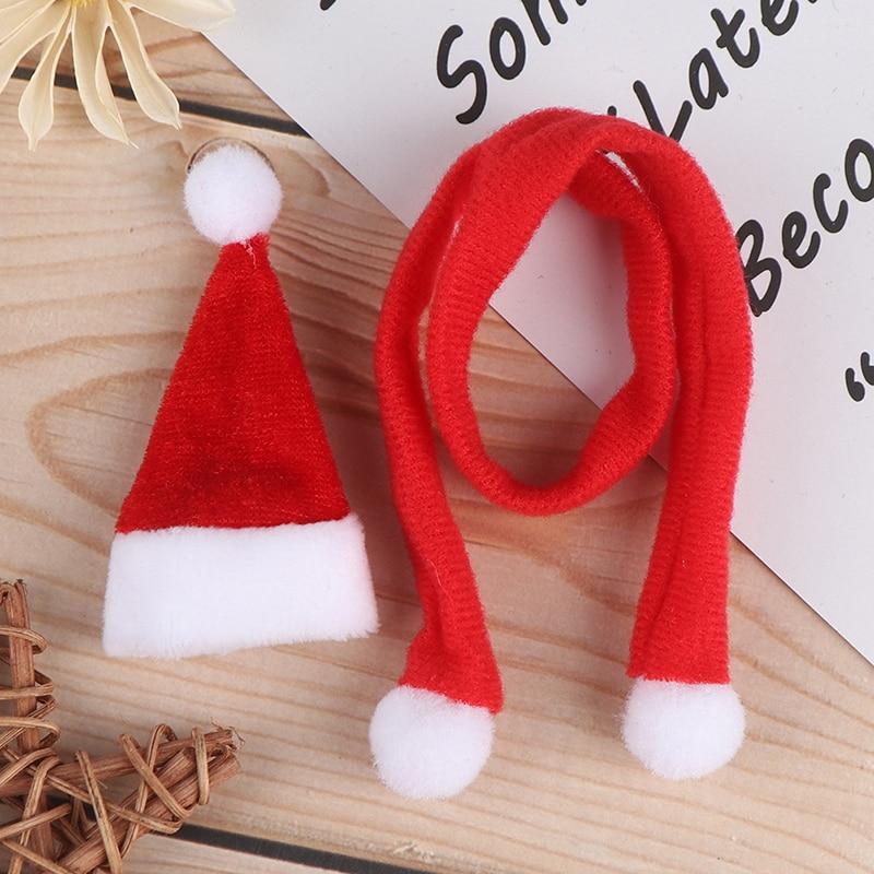 Красочная рождественская шапка + шарф, аксессуары для кукольного домика, Декор, милая шляпа, миниатюрный кукольный домик, лучший