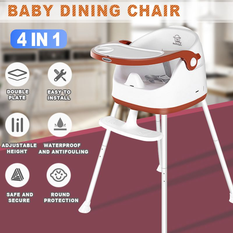 4 in 1 Baby Feeding Chair Portable High Chair with wheels Adjustable Kid Booster Seat Children Foldable Dining Chair