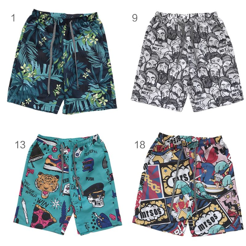 Mens Plus Size Quick Dry Swim Trunks Tropical Leaf Cartoon Graphic Print Surfing Beach Shorts Summer Holiday Drawstring Pants