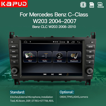 Kapud Android 10 Car Player Multimedia Autoradio GPS For Mercedes Benz C-Class W203/CLC W203 Radio Stereo BT Navigation image