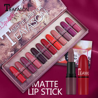 12pcs/set Colorful Bullet Designed Lipstick Sexy Red Brown Nude Lip Batom Waterproof Easy To Wear Lipstick Tattoo Pen