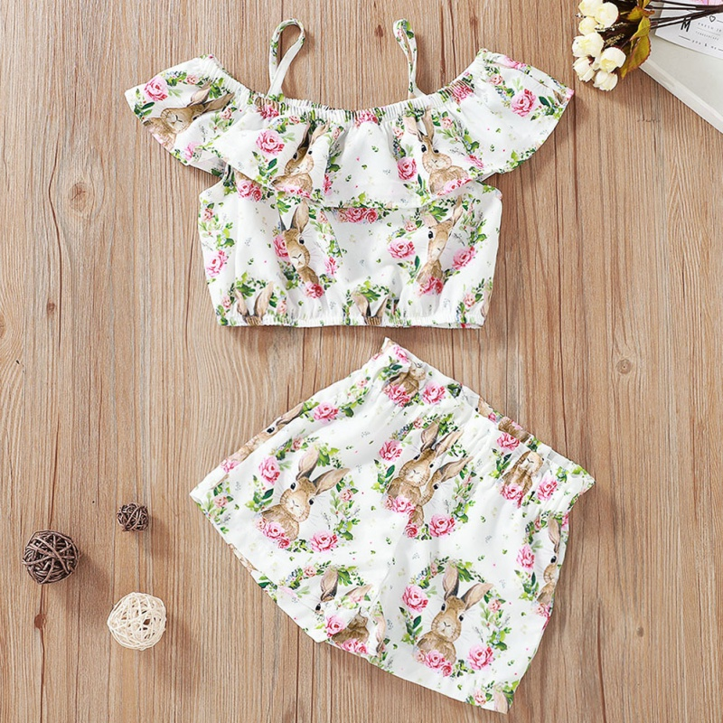 Children's Set Girls Sleeveless Lotus Leaf T-Shirt Shorts Two-Piece Easter Fashion Cute Rabbit Wreath Print Sling Shirt Pant New