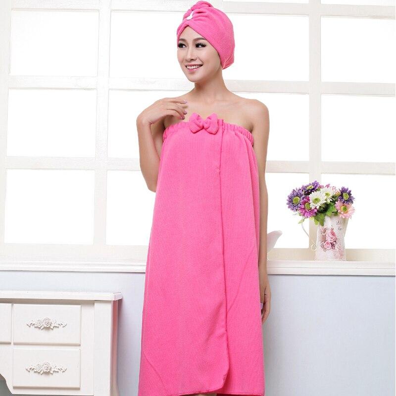 BAKINGCHEF Women's Microfiber Bath Towel Set With Hair Band Bathrobe Home Textile Bathroom Items Gear Stuff Accessories Supplies