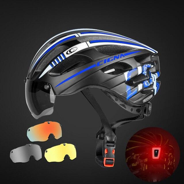 Especializado magnético ciclismo capacete da bicicleta viseira das mulheres dos homens ultraleve miopia mtb capacete com 3 óculos de lente removível 3