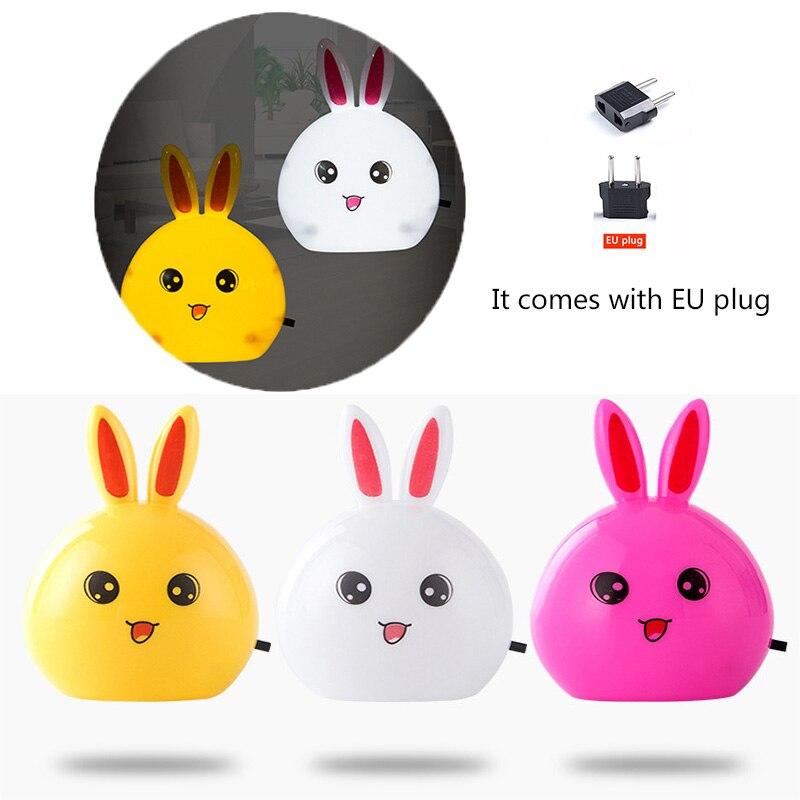 AC110-220V US Plug Rabbit LED Night Light Switch Night Light Bedroom Bedside Lamp Children Nightlights Send EU Plug Adapter