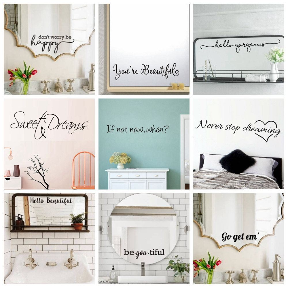 Nordic Style Mirror Phrase Quotes Vinyl Sticker Italian Sentence Wall Stickers For House Decoration Bedroom Decor Mirror Decals