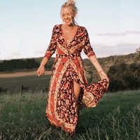 TEELYNN long sleeve Maxi Boho dress floral print sexy V-neck femme long dresses for women Gypsy autumn dresses brand vestidos