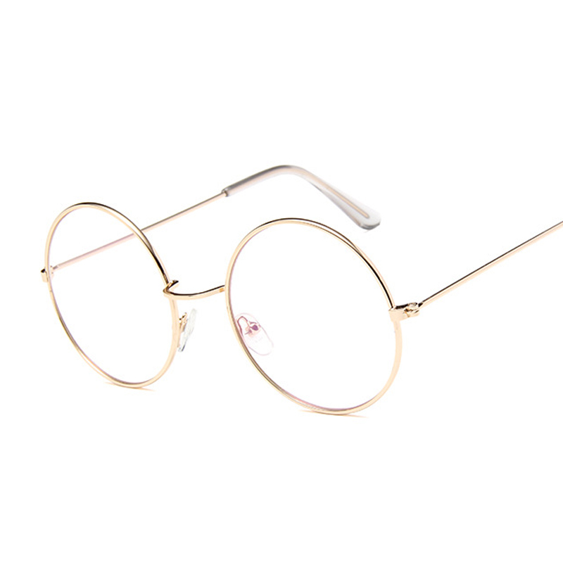 Vintage Round Glasses Clear Lens Fashion Gold Round Metal Frame Glasses Optical Men Women Eyeglass Frame Fake Glasses