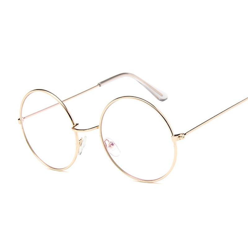 Vintage Round Glasses Clear Lens Fashion Gold Round Metal Frame Glasses Optical Men Women Eyeglass Frame Fake Glasses